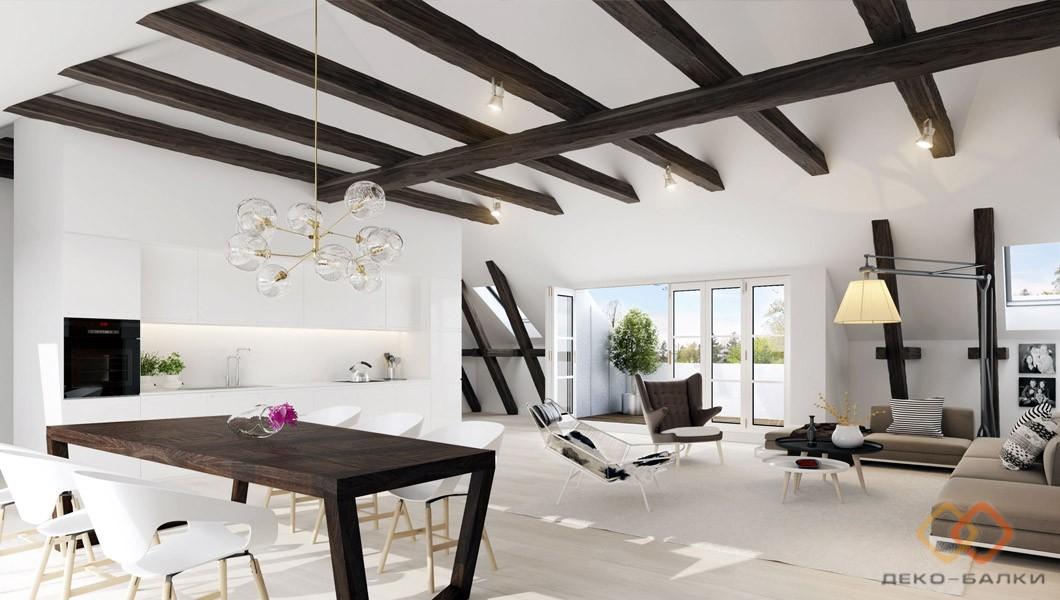 Фальшбалки на потолок для интерьера в стиле кантри